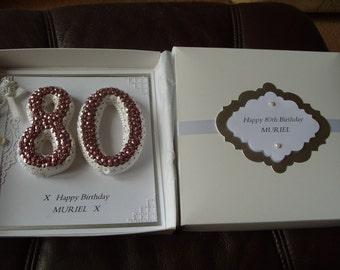 Handmade Personalised 80th Birthday Card