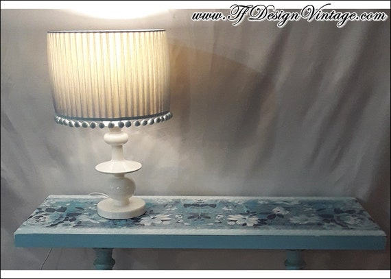 Lámpara mesita de noche, Set 2 lámparas mesa, Lámpara azul, Lámpara blanca, Lámpara dormitorio, Lámpara mueble, Lámpara mesa, Lámpara 43 cm