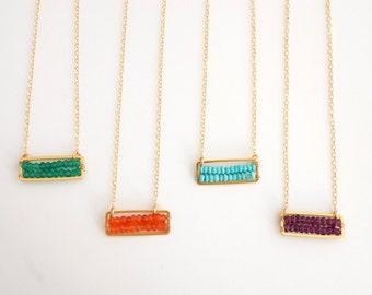 Birthstone Necklace, Gemstone Bar Necklace, Personalized Necklace, Gemstone Row Necklace, Simple Gemstone Necklace, Layer Necklace