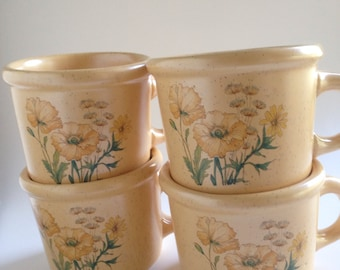 Vintage 1960-70s Set of Four Yellow Poppies and Daisies Soup Coffee Cup Mug