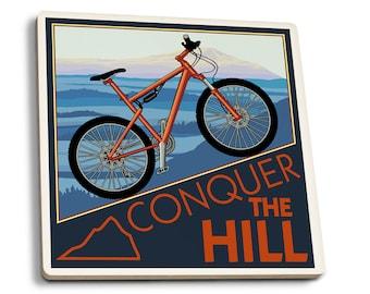 Conquer the Hill - Mountain Bike - LP Artwork (Set of 4 Ceramic Coasters)