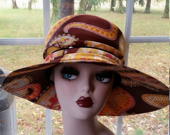 60's Spectacular Large Paisley Print  Brimmed Hat Sally Victor Headlines