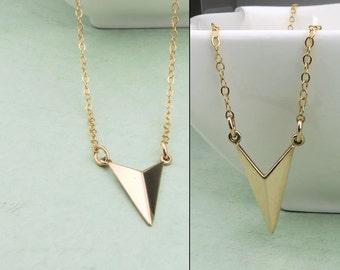Gold Arrow Chevron Necklace, 14k gold fill, V shaped necklace, layering, minimal jewelry