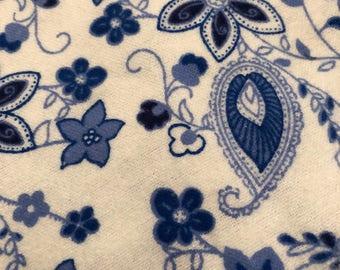 Personalized REVERSIBLE Baby Bandana Bib /Bibdana / Choose Organic Bamboo or Minky / Blue Floral Paisley