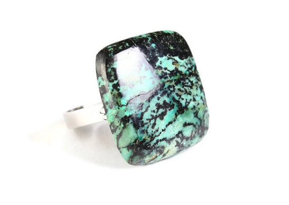 Unique natural chrysocolla adjustable silver ring OOAK (767F)