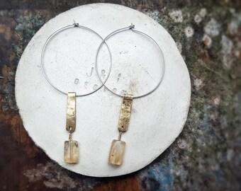 Handmade 》 Sterling Silver 》Brass 》 Hoop 》 Earrings 》 Honey Quartz 》