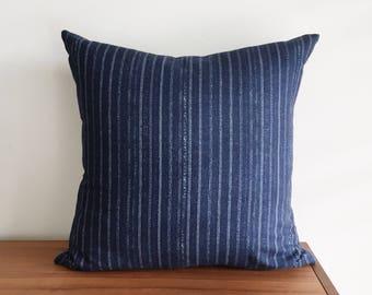 """Indigo Blue Pin Stripe, 20x20"""" Pillow Cover"""