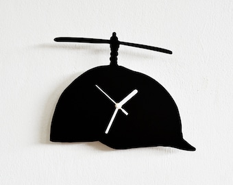 Funny Hat with Propeller Boys Silhouette - Wall Clock