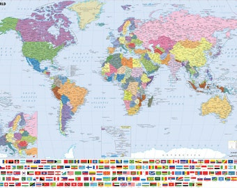 World Map Flags Poster (a) - Choose your size - A2/A1/A0