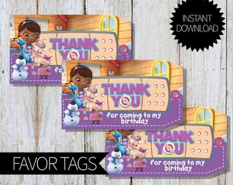 Doc McStuffins Birthday Party PRINTABLE Favor Tags- Instant Download   Disney Junior   Doctor McStuffins