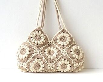 Beige crochet flowers bag hippie purse boho shoulder bag eco friendly purse bohemian floral tote crochet summer bag tan everyday floral bag