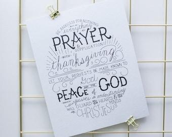 Hand-Lettered Print, Bible Verse, 8x10 Print, Wall Art, Custom Print, Prayer & Thanksgiving, Recycled Paper, Proverbs Art, Verse Art