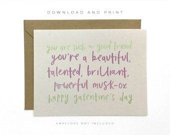 Printable Galentine's Day Card, Parks & Recreation Card, Leslie Knope Card, Valentine's Day Card