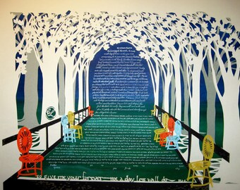 Tree Path with Wisconsin Sunburst Chairs - Ketubah - multi-layered papercut wedding artwork