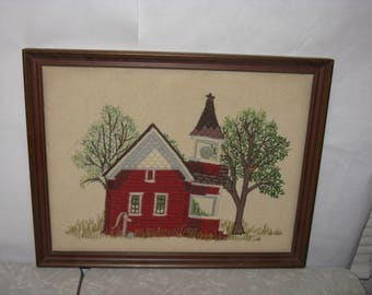 Crewel embroidery picture church school framed