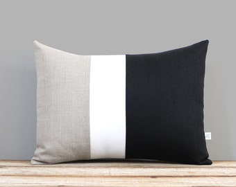 Classic Color Block Decorative Pillow with Black, Cream and Natural Linen Stripes by JillianReneDecor Neutral Minimal Modern Home Decor