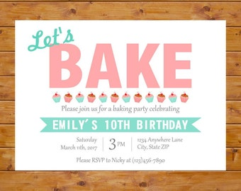 Baking Birthday Invitation - Baking Party Invitation - Cupcake Invitation - Girl Birthday Party - Printable, Custom, Digital File
