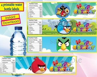 Angry birds water bottle labels, Angry birds party, Angry birds birthday invitation - instant download