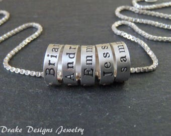 Tiny ring name necklace Sterling silver custom hand stamped mothers necklace with name wife Gift for mom