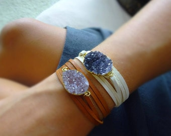 Druzy bracelet, leather wrap bracelet or choker necklace, amethyst or Agate, raw crystal jewelry, boho bohemian style, Otis b