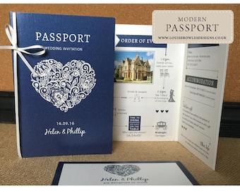 Passport wedding Invitation, Travel Destination Wedding Invitation- Aboard invitations - SAMPLE