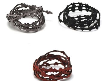 """1 m + 1 m (free) cord strap perforated suede """"bundle"""" 6 x 1, 8 mm, color choice"""