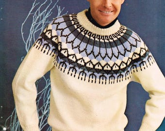 Vintage knitting pattern Men's Yolked Pullover - pdf download - Retro 60s Men's Sweater