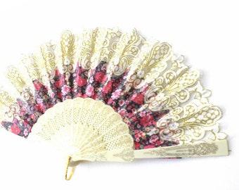 Hand Fans, hand fan, Abanico, weddingfan,white with romantic roses