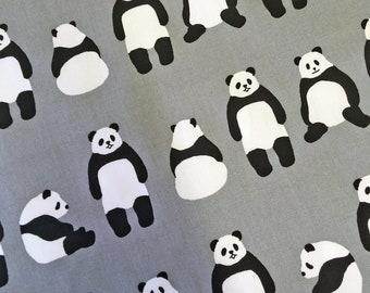 Panda Bear Grey Pandas Gray Sevenberry Japan Robert Kaufman Cotton Oxford Canvas Fabric