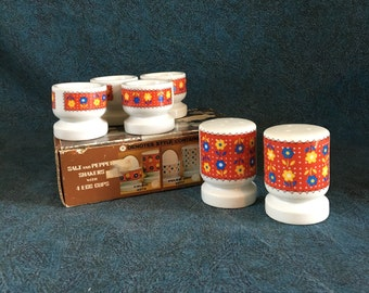 Vintage Retro Mod Floral Salt and Pepper Shakers with 4 Egg Cups