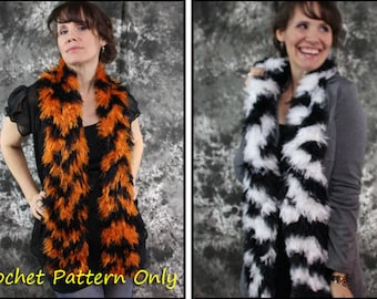 White and Bengal Tiger Striped Scarves - 2 SCARF CROCHET PATTERNS