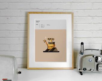 Wall-E Print Pixar - A4 Disney Print, Movies Wall Art, Pixar Poster, Movie Poster, Illustration, Art Prints, Minimalist Movie, Offer