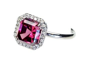 Engagement Ring, Asscher Cut Diamond Ring,  Diamond Ring, Garnet Ring, Garnet Diamond Ring, Rhodalite Garnet, Black Rhodium, OOAK, Nixin