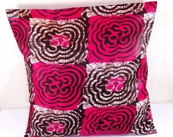 "Ethnic patterns ""Batik"" fuchsia printed cotton Cushion cover 40 x 40 cm"