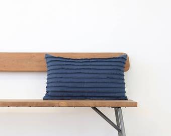 Layered Fringe Pillow Cover in Navy Blue Linen, Cushion Cover, 12x20, Decorative Pillow, Accent Pillow, Lumbar Pillow by JillianReneDecor