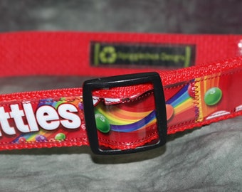 Adjustable Dog Collar from Recycled Original Skittles Wrappers