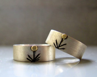 His and Hers Bands - Alternative wedding ring set, Friendship rings, Silver wedding ring made to order