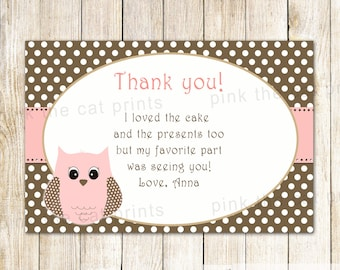 Owl Thank You Card - Owl Thank You Note Girl Birthday Thank You Card Pink Brown Owl Birthday Thank You Card Owl Baby Shower Thank You Note