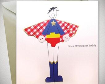 Superhero Birthday Card - Birthday Cards - Greeting Cards - Cards