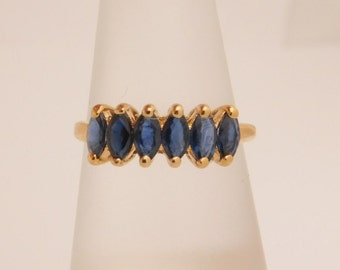 Ladies Maquise Cut Blue Sapphire Band 10K Yellow Gold Ring