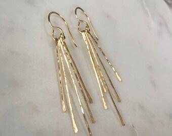 Gold fringe earrings, gold tassel earrings, hammered bar earrings, long fringe earrings, gold dangle earrings, linear earrings