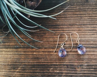 Amethyst Gemstone Drop Earrings Bridesmaid Gift February Birthstone Wire Wrapped One of A Kind Amethyst Jewelry Handmade in Indiana