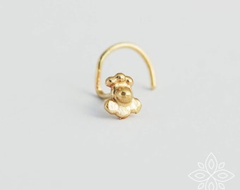 Nose Stud, Nose Pin, Tiny Nose Stud, Gold Nose Stud, Gold tragus, Indian earring, Nose Screw, 14k Solid gold nose stud, Elegant Piercing
