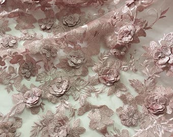 Rose/White 3D lace Fabrics, Applique Embroidered Lace ,Wedding Bridal Lace 3D Embroidered lace fabric