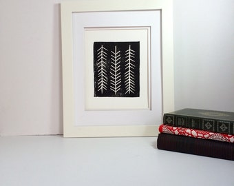 Black and white modern twig linocut 9x12 handprinted printmaking
