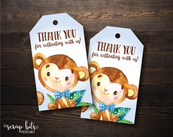 Boy Monkey Thank You Tags, Watercolor Monkey Baby Shower Tags, Printable Baby Shower Thank You Tags, Instant Downloand