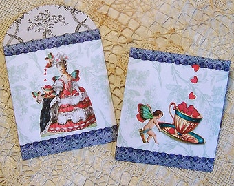 Tea Bag Envelopes, Candy Wrapper - Printable Marie Antoinette Valentine Or Tea Party Favor INSTANT DOWNLOAD With Teacup Cherub Fairy CS49GB