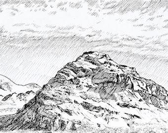 Desert Hills - Ink Illustration Print 5x7