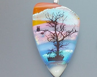 Owl in a Tree Dichroic Glass Pendant Necklace