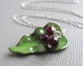 Green Enamel Leaf Necklace Red Garnet